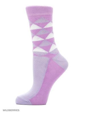 Классические носки с рисунком(3 пары) HOSIERY. Цвет: сиреневый