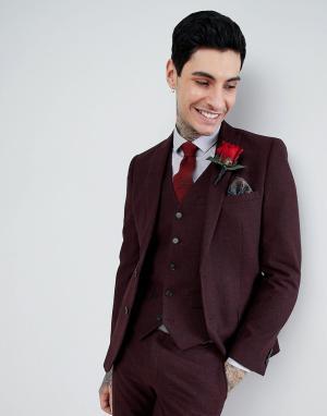 Harry Brown Бордовый фланелевый приталенный пиджак с добавлением шерсти Brow. Цвет: красный