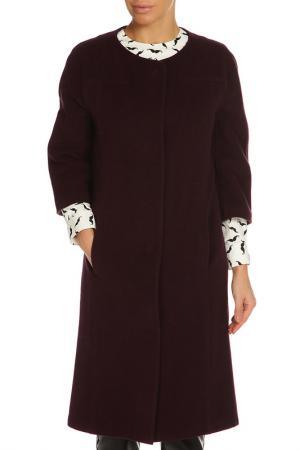Пальто, застежка-кнопки NATALIA PICARIELLO. Цвет: баклажановый
