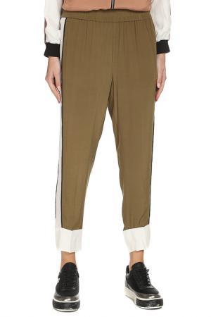 Легкие брюки с поясом на резинке TWIN-SET. Цвет: горчичный, белый