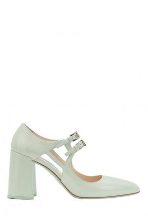 Кожаные туфли Prada. Цвет: зеленый