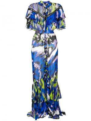 Длинное платье с оборками Just Cavalli. Цвет: многоцветный