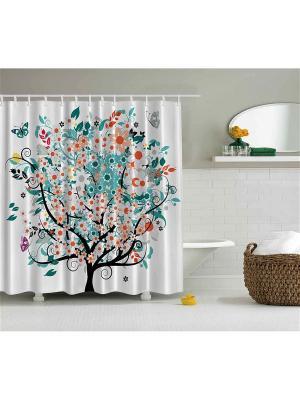 Фотоштора для ванной Жёлтые листья, лиловые цветы, бирюзовое дерево, разноцветная бабочка, 180x200 Magic Lady. Цвет: зеленый, коричневый, красный, белый