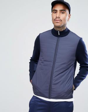 Aquascutum Темно-синяя куртка из плотного трикотажа Wise. Цвет: темно-синий