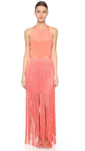 Платье без рукавов с бахромой Tamara Mellon. Цвет: голубой