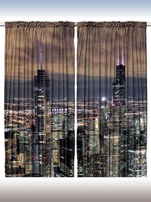 Комплект фотоштор Вечер в мировых столицах, 290*265 см Magic Lady. Цвет: коричневый