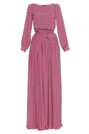 Платье из вискозы с поясом 169803 Demurya Collection. Цвет: разноцветный