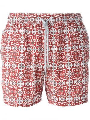 Плавательные шорты с орнаментом Capricode. Цвет: красный