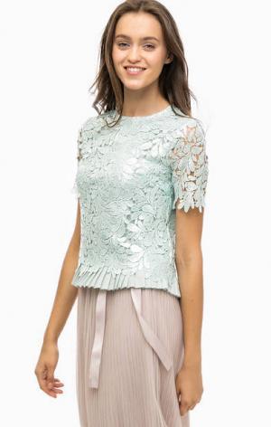 Кружевная блуза мятного цвета с декором Darling. Цвет: мятный