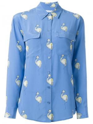Рубашка с принтом фламинго Equipment. Цвет: синий