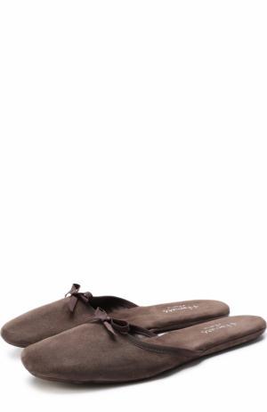 Домашние туфли из замши с бантом Homers At Home. Цвет: серый