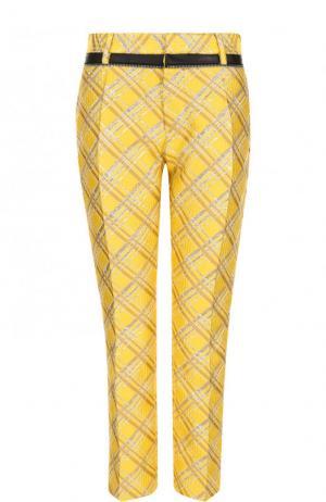Укороченные жаккардовые брюки с карманами Dsquared2. Цвет: желтый