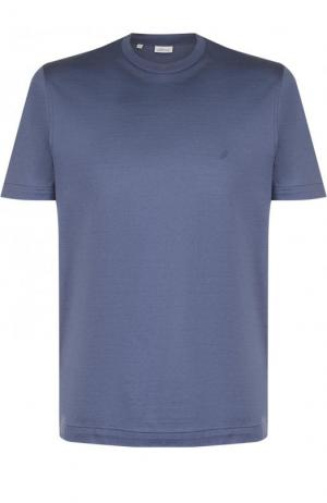 Хлопковая футболка с круглым вырезом Brioni. Цвет: синий