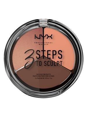 Тройная палетка для контурирования. 3 STEPS TO SCULPT FACE SCULPTING PALETTE - DEEP 04 NYX PROFESSIONAL MAKEUP. Цвет: темно-коричневый, золотистый, персиковый