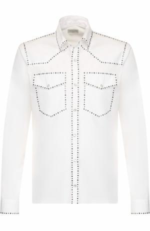 Хлопковая рубашка с декоративной отделкой Dries Van Noten. Цвет: белый