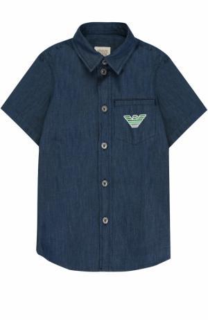 Рубашка из денима с логотипом бренда Armani Junior. Цвет: синий