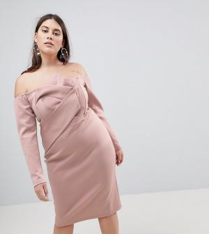 ASOS Curve Платье-бандо миди с длинными рукавами и складками. Цвет: розовый
