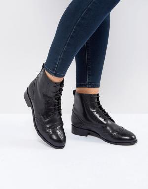 New Look Высокие кожаные броги. Цвет: черный