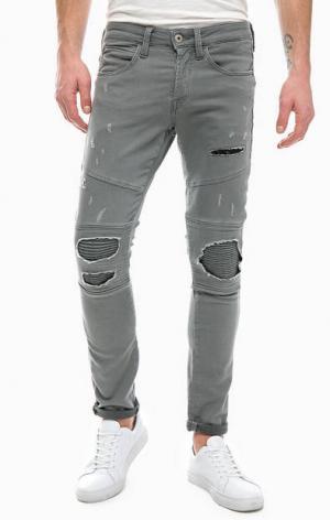 Серые джинсы с заплатами Jack & Jones. Цвет: серый