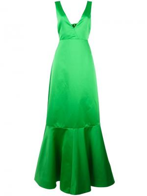 Расклешенное длинное платье Rochas. Цвет: зелёный