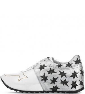 Кожаные кроссовки с вкладной стелькой Felmini. Цвет: серебряный