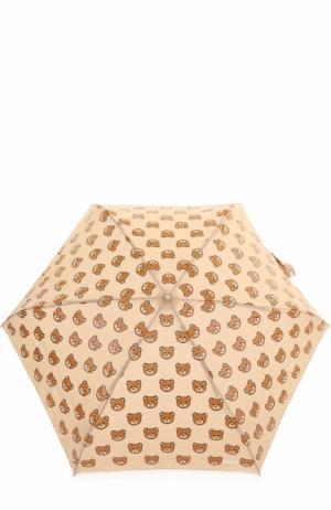 Складной зонт с брелоком Moschino. Цвет: бежевый