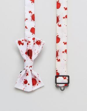 ASOS Галстук-бабочка с эффектом брызг крови Halloween. Цвет: белый