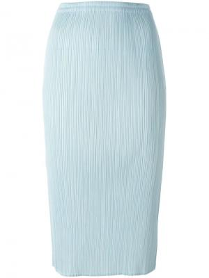 Плиссированная юбка-карандаш Issey Miyake Vintage. Цвет: синий