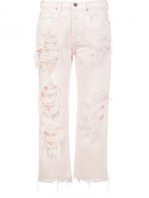 Укороченные джинсы с рваной отделкой Alexander Wang. Цвет: розовый и фиолетовый