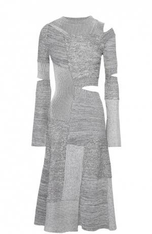 Приталенное вязаное платье с декоративными разрезами Proenza Schouler. Цвет: черно-белый