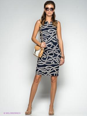 Платье QUIOSQUE. Цвет: темно-синий, белый
