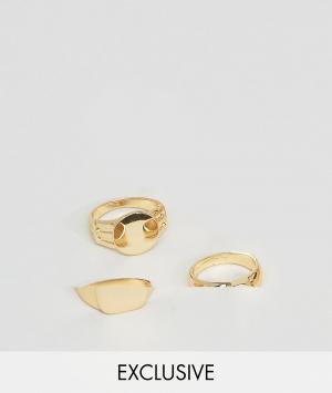 DesignB London Набор из 3 золотистых колец эксклюзивно для ASOS. Цвет: серебряный