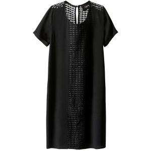 Платье прямое средней длины, однотонное, с короткими рукавами SCHOOL RAG. Цвет: черный