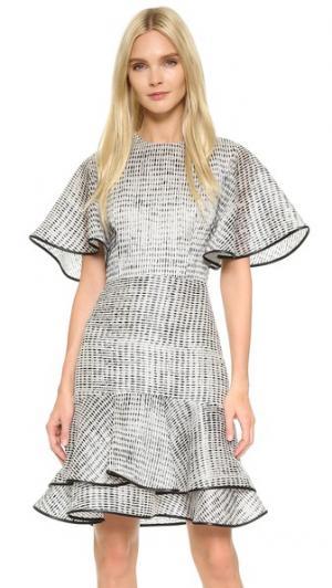 Платье Woodgrain с оборками косого кроя Jason Wu. Цвет: белый