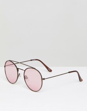 ASOS Круглые солнцезащитные очки-авиаторы в металлической оправе с розовыми. Цвет: коричневый