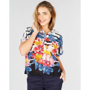 Блузка с воротником-поло и короткими рукавами RENE DERHY. Цвет: в полоску черный/белый