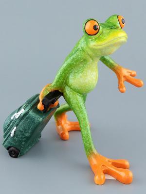Фигурка  Лягушка - путешественница Elan Gallery. Цвет: зеленый, темно-зеленый, оранжевый
