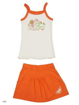 Комплект юбка-шорты с майкой ВАЛЕНТИНА СТИЛЬ. Цвет: оранжевый