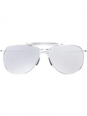Солнцезащитные очки авиаторы Thom Browne Eyewear. Цвет: металлический