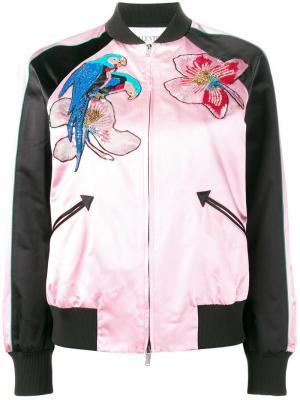 Куртка-бомбер с тропическим узором Valentino. Цвет: розовый и фиолетовый
