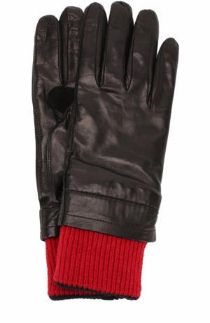 Кожаные перчатки с контрастными шерстяными манжетами Ami. Цвет: черный