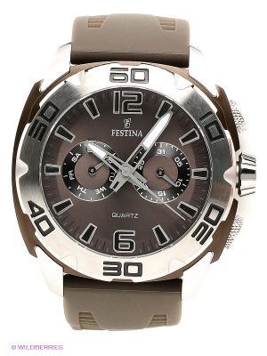 Часы Festina. Цвет: серебристый, коричневый