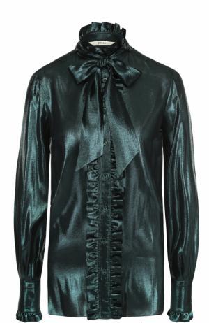 Шелковая блуза с оборками и бантом Bally. Цвет: темно-зеленый