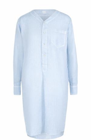 Льняное платье с удлиненной спинкой 120% Lino. Цвет: голубой