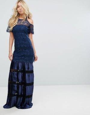Body Frock Кружевное платье макси с открытыми плечами Bodyfrock. Цвет: темно-синий