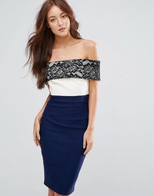 Vesper Платье-футляр с кружевом. Цвет: темно-синий