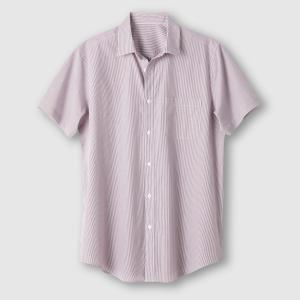 Рубашка с короткими рукавами, рост 1 и 2 (до 1,87 м) CASTALUNA FOR MEN. Цвет: в полоску бордовый/белый