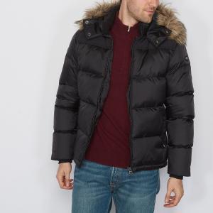 Куртка средней длины с капюшоном SCHOTT. Цвет: антрацит/ черный