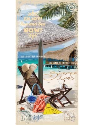 Полотенце пляжное MonaLiza&SergLook Lounger Mona Liza. Цвет: бирюзовый, рыжий, светло-зеленый