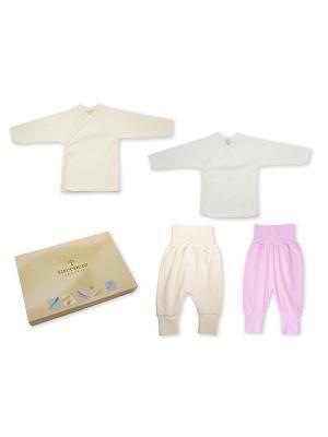 Комплект из 2-х распашонок и штанишек GREENERA. Цвет: светло-бежевый, розовый, белый